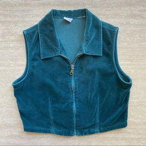 Vintage Dark Green Velour Zip Up Cropped Top